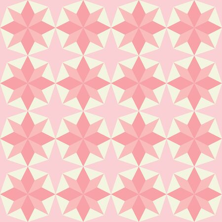 Vector pink patchwork quilt seamless repeat background pattern with star shape.