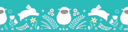 Easter pattern border. Cute bunny, lamb, egg and floral vector seamless repeat design.