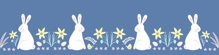 Easter pattern border. Cute Spring bunny, chick, egg and daffodil vector seamless repeat design. Ilustração