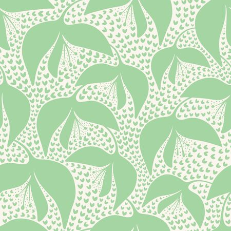 Floral vector repeat pattern design in neo mint and cream.