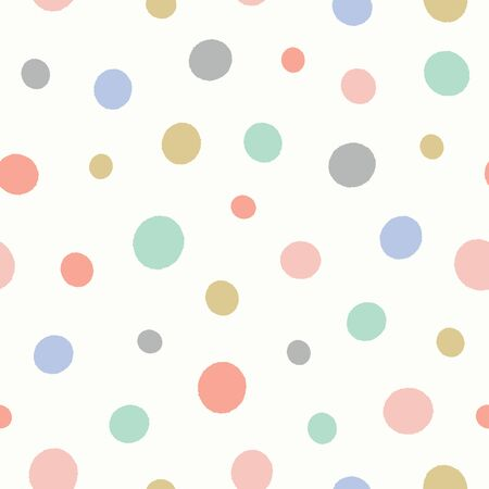 Dot pattern in pastel colours. Fun textured spotted vector seamless repeat background design.