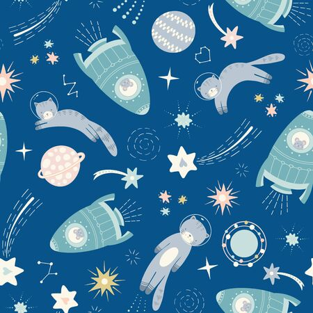 Space cat and spaceship pattern design. Vector seamless solar system repeat.