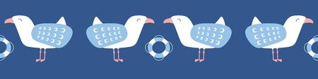 Seagull border vector pattern design with lifebouy.
