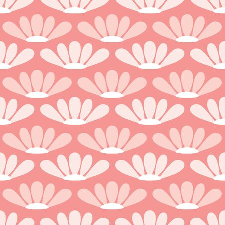 Floral pattern design in pink. Seamless repeat background of stylized flowers. Vettoriali