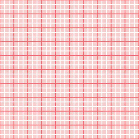 Check pattern background in pink and orange, cute textured vector plaid seamless repeat design.