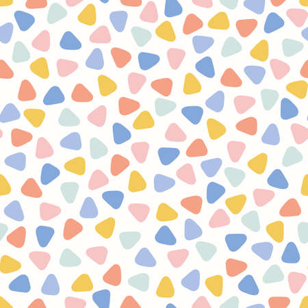 Triangle mosaic pattern design background, cute vector seamless abstract repeat of tiny colourful triangles.