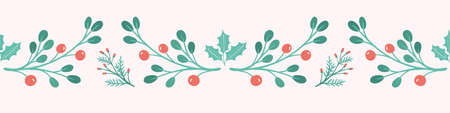 Christmas banner background. Sweet Festive banner of holly, berries and foliage, vector seasonal seamless repeat.