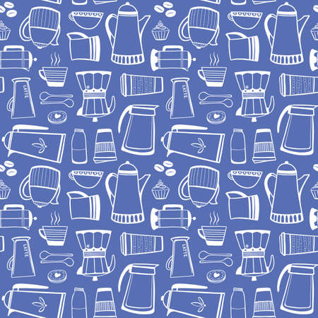 Coffee equipment pattern design. Outline vector seamless repeat of hot drinks and snacks. Fun vector illustration in blue and white.