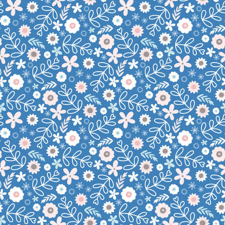 Floral pattern design, vector tossed seamless repeat of hand drawn flowers.
