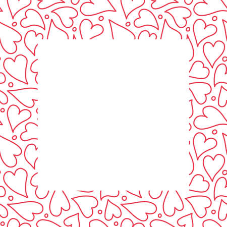Heart border frame design background, hand drawn red outlined hearts in a square surround. Vector template illustration.