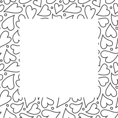 Heart border frame design background, hand drawn outlined hearts in a square surround. Vector template illustration in black and white