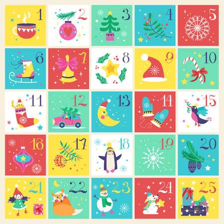 Christmas advent calendar. Vector illustration.