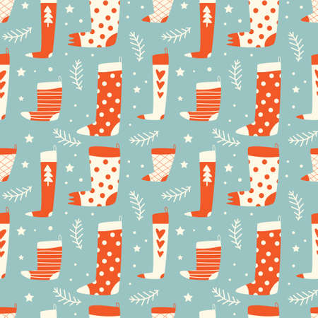Seamless vector pattern with christmas or new year illustration. Winter pattern collection. Christmas wrapping paper. Stock Illustratie