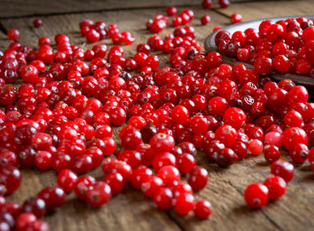 scattered: red cranberries scattered on the wooden table Stock Photo