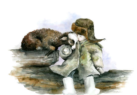 Little boy in the winter coat, hat and lamb sitting on logs. Friendship. Countryside life. Watercolor illustration.
