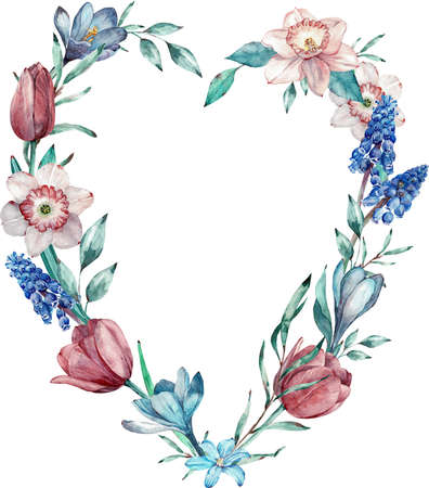 Heart frame made of spring flowers. Watercolor illustration isolated on white background.