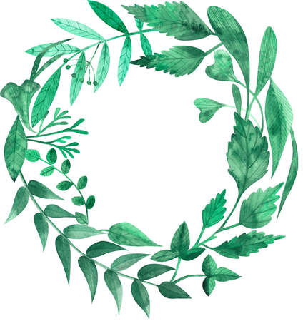 Watercolor illustration of letter O made of green leaves isolated on the white background.