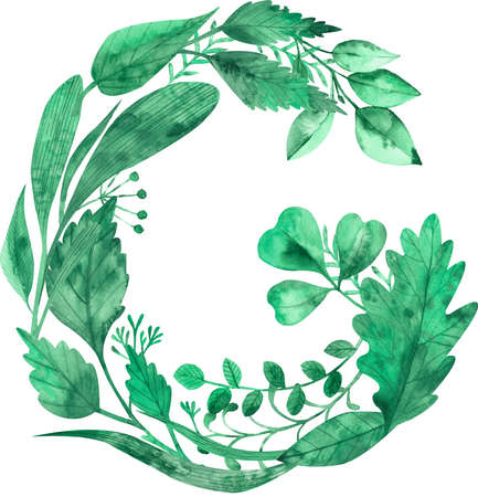 Watercolor illustration of letter G made of green leaves isolated on the white background. Stock fotó