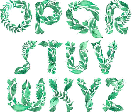 Watercolor illustration of Alphabet made of green leaves isolated on white background. Letters from O to Z. Part 2 of 2.