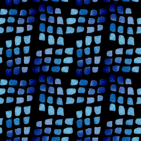Seamless pattern of blue brush spots. Watercolor background isolated on black.