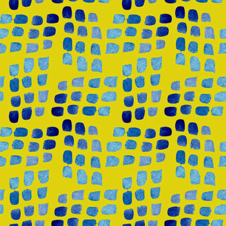 Seamless pattern of blue brush spots. Watercolor background isolated on yellow.