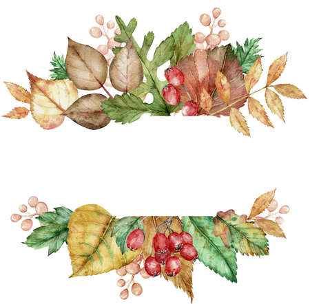 Watercolor frame with a leafy bouquet. Frame with fall leaves and red berries. Botanical illustration.