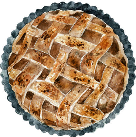 Hand-drawn watercolor brown pie. Top view illustration for food design. Thanksgiving dinner. Stok Fotoğraf