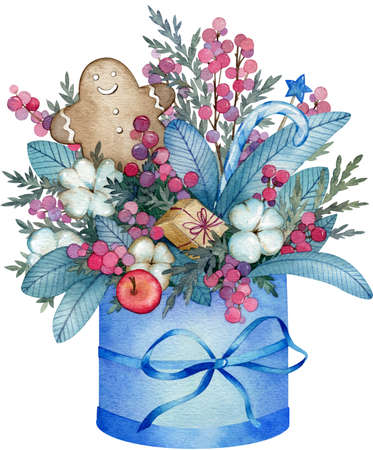 Watercolor illustration of blue winter bouquet made from cotton flowers, pine branches, red berries, cookie in the box with a bow isolated on white background. Christmas composition. Stockfoto
