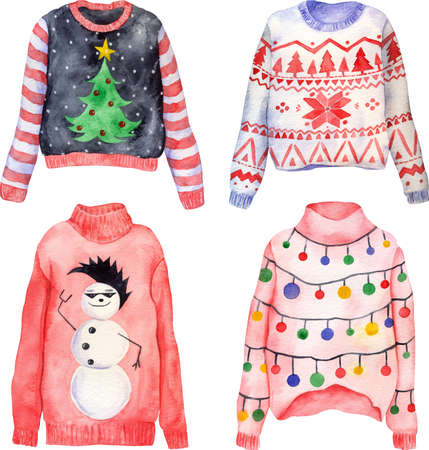 Watercolor set of of cute hand drawn ugly Christmas sweaters on isolated background. Christmas jumper day clothes. Knitted pullovers with ornaments, snowman, green tree, colorful lights. Фото со стока