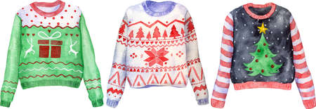 Watercolor hand drawn ugly Christmas sweaters on isolated background. Christmas jumper day clothes. 版權商用圖片