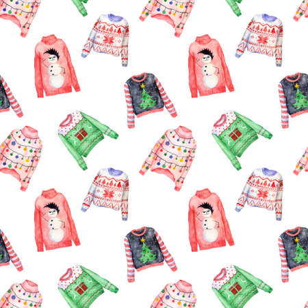Watercolor pattern of ugly Christmas sweaters on white background. Christmas jumper day clothes.