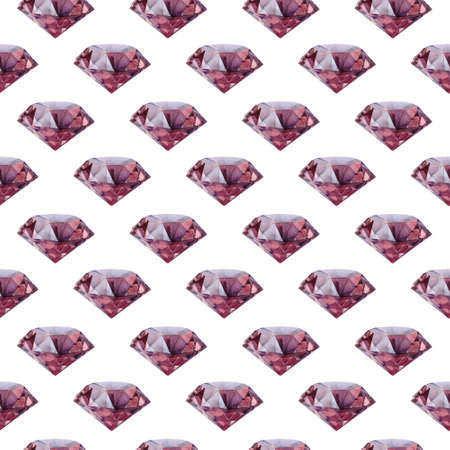 Purple and violet diamond crystals watercolor seamless pattern. Gem background.