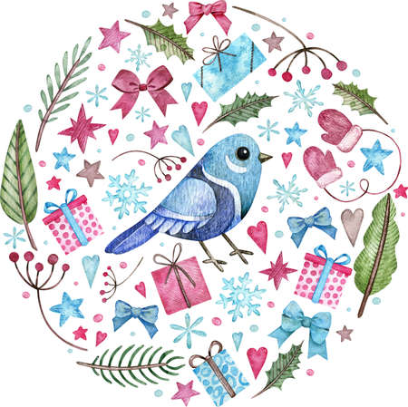 Circle Christmas composition with a blue bird, gifts, bows, tree branches, stars, hearts. Watercolor illustration isolated on white background. Stockfoto