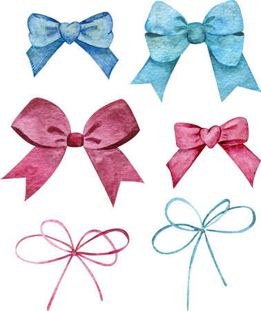 Watercolor set of blue and pink bows. Hairstyle or gift wrapping accessories. Stock Photo