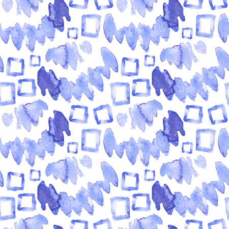 Seamless pattern of blue brush strokes and squares. Watercolor background. Tribal ornament.