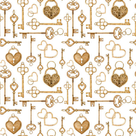 Seamless pattern with vintage golden keys and heart-shaped locks. Watercolor illustration.