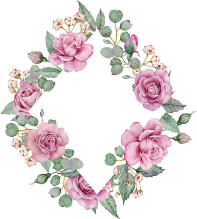 Watercolor floral frame. Pink rose and eucalyptus branches template. Valentines day and Mothers Day card. Banque d'images