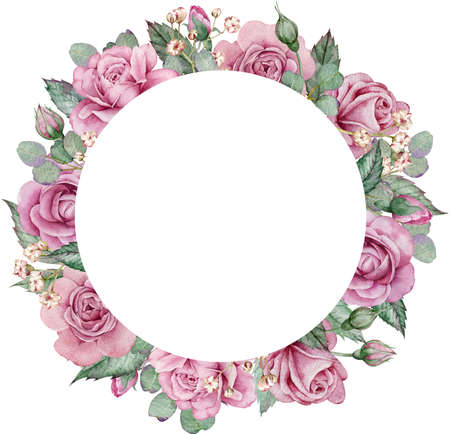 Pink roses and eucalyptus circle frame. Watercolor hand-drawn floral wedding frame. Valentines day template. Banque d'images