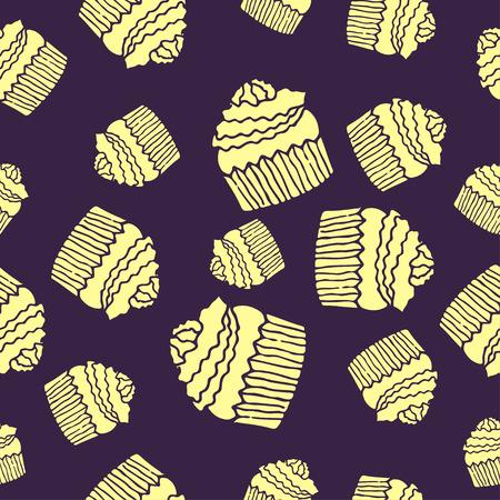 high calorie: purple cake pattern seamless Illustration