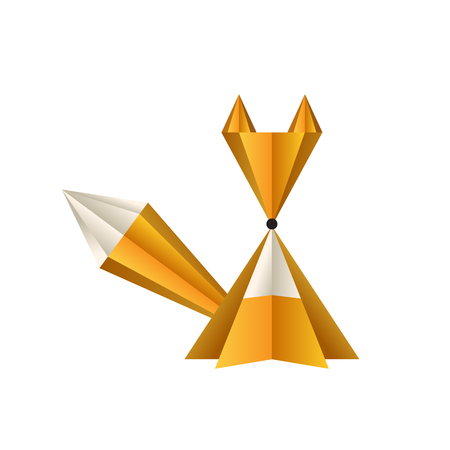 vector fox of paper on white background Illustration