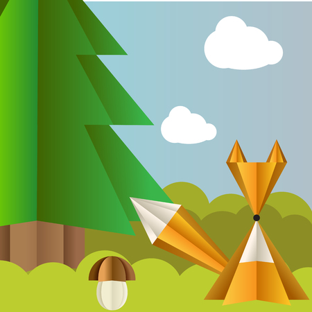 Vector autumn landscape with a fox, spruce and fly agaric origami