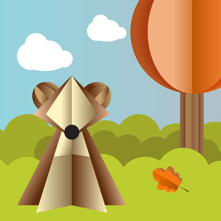 Vector autumn landscape with a bear, spruce and fly agaric origami Illustration