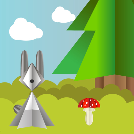 fly agaric: Vector autumn landscape with a hare, spruce and fly agaric origami Illustration
