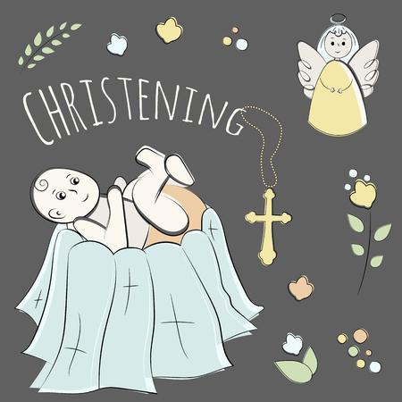 Doop van het kind in de kerk, doopsel. Vector set geïsoleerde elementen, met de hand getekend. Gebruikt voor ansichtkaarten, gefeliciteerd, wallpapers, afdrukken, achtergronden.