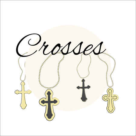 Vector set of church crosses on a chain. Isolated objects, elements drawn manually in the style of doodle.