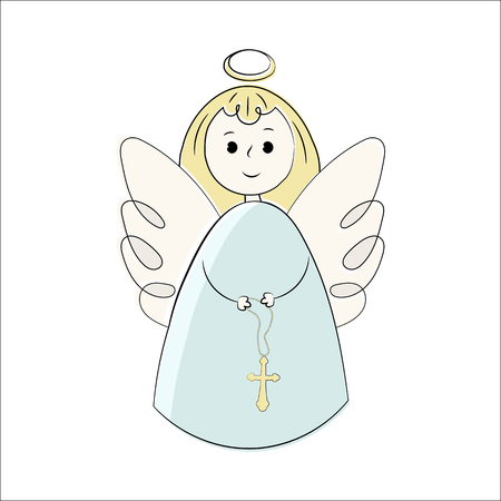 Vector angels on a white background. Hand-drawn in the style of doodle. Isolated objects Illustration