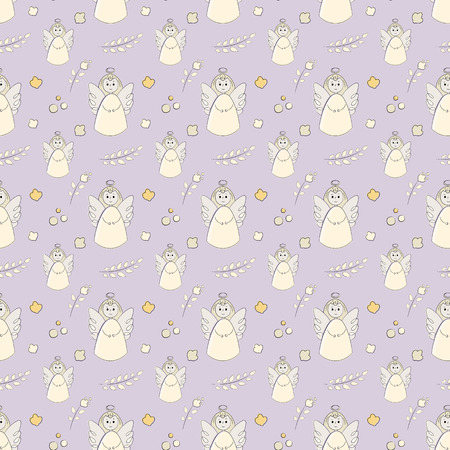 Vectron seamless pattern of elements drawn manually in the style of doodle. Christening, angel, religion, church. Used for wallpapers, backgrounds, wrapping paper.