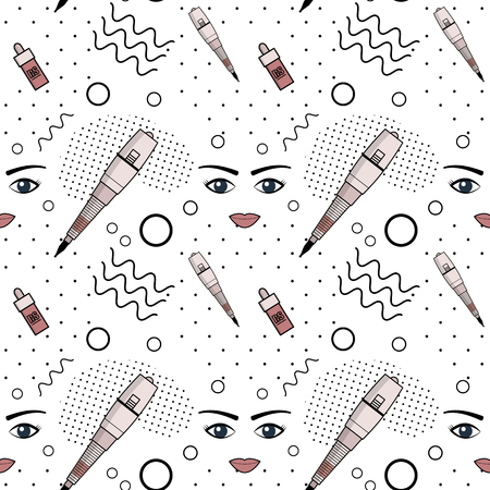 Vector seamless pattern of equipment for permanent make-up. Used for backgrounds on the site, business cards, wallpaper, textiles.