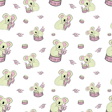 Cute bear koala doodle seamless pattern. Vector background with koalas can be used for baby textile, tshirt, wallpapers, posters and more. Illustration