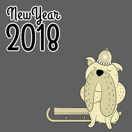 Vector hand drawn bulldog. The symbol of the New Year 2018. Can be used for banners, and more.